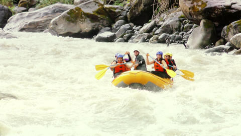 slow motion extreme whitewater river rafting Footage