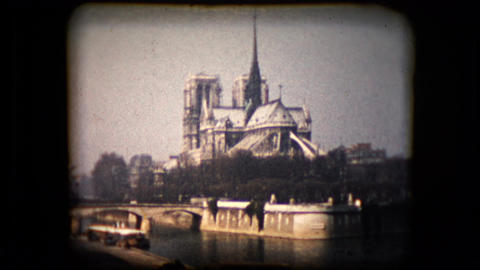 Historic footage of the famous Notre-Dame cathedral in Paris Footage