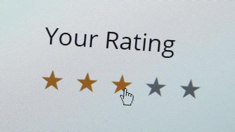 Computer Screen Rating Three Stars Closeup Footage