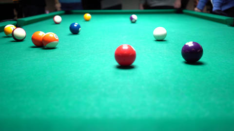 American Billiards Hitting The Ball Footage