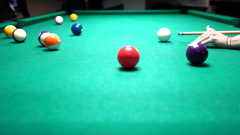 Above Whole Pool Table View, Billiards Player Send Powerful Shot And Misses Footage