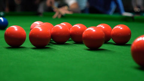 A Shot Behind The Snooker Balls Slow Motion Footage