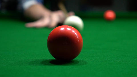 Footage Of A Successful Shot Of A Snooker Player Footage