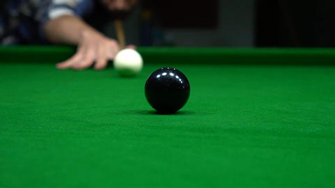 Close Up Billiards Pocket, Focus On Ball Reaching Pocket Sport Indoors Footage