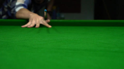 Close Up Billiards Pocket, Focus On Ball Reaching Pocket... Stock Video Footage