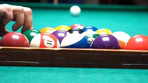 Billiard Opening Shot Slow Motion Footage