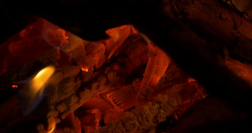 Beautiful Campfire, Bonfire Closeup Footage