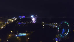 Aerial view of the fireworks at night