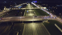 Aerial view of highway and passing cars Footage