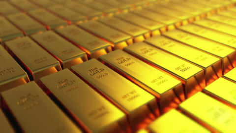 4k Gold bullion gold bars treasury wealth Ingot luxury finance goods trading Footage