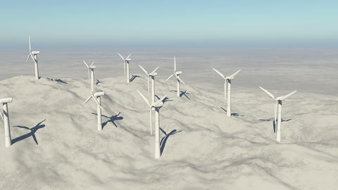 4k Aerial view of Windmill Turbines Clean on the mountain,Green new Energy Live Action