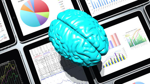 4k rotating brain & Mobile devices,finance pie charts & stock trend in the ipad Footage