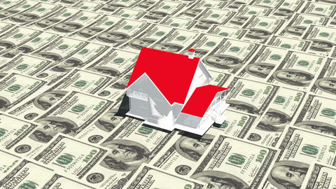 4k house on the 100 dollar bills background,business investment,real-estate Footage