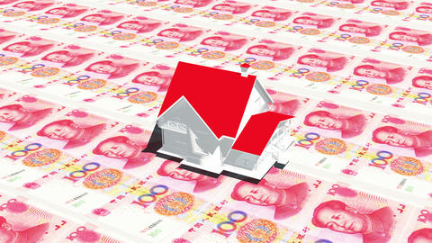 4k house on 100 RMB bills background,business investment,real-estate Footage
