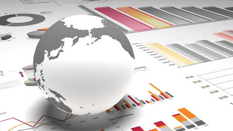 4k,rotating earth model on the finance pie charts & business trend diagrams Live Action