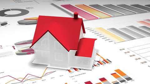 4k,rotating 3d house model on the finance pie charts & business trend diagrams Footage