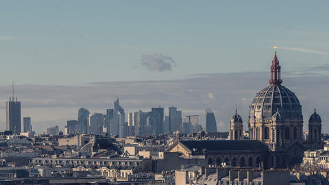 Paris, France - Timelapse - The Saint Augustin Church and la Defense Footage