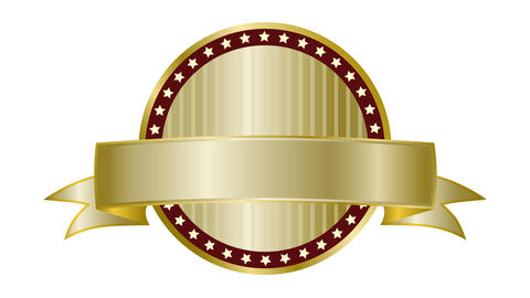 Label ribbon gold Animation