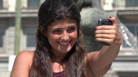 Young Woman Taking Selfies Live Action