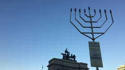 Largest Menorah at Grand Army Plaza Footage