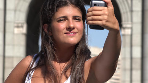 Woman On Vacation Taking Selfie Live Action
