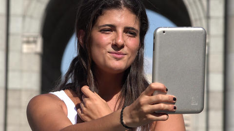 Tourism Woman Selfie With Tablet Live Action