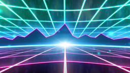 Retro 80s VHS tape video game intro landscape vector arcade wireframe mountains Live Action
