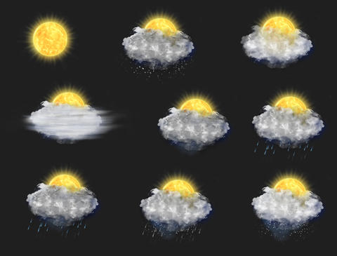 Weather Forecast Icons Set, with Alpha Channel (4K) Animation