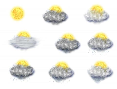 Weather Forecast Icons Set, on a white background (4K) Animation
