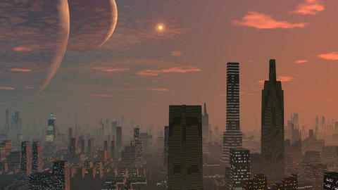 City of aliens, two moons and the dawn Animation