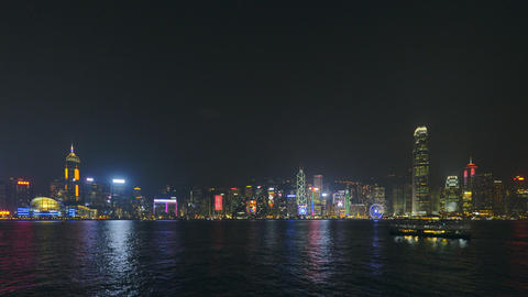 Hong Kong Skyline at Night Footage