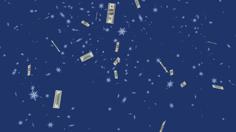 Happy New Year,Christmas,3d Winter Flying Banknotes Of Dollars stock footage