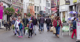 Busy Shopping Street Europe stock footage