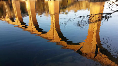Water Reflection Of An Arch Bridge Stock Video Footage