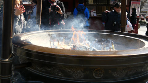 Large incense pot at Senso-ji temple Footage