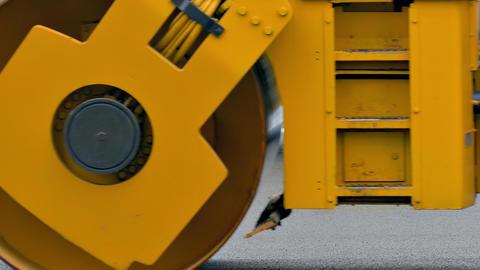 1080p Pavers and Rollers Repair Asphalt Road in City Footage