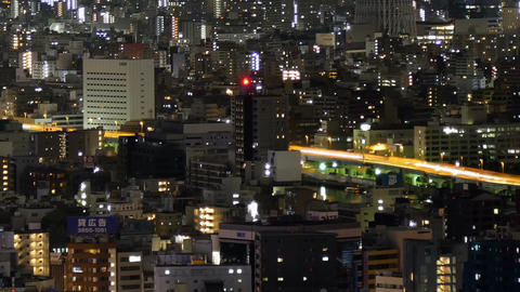 Elevated timelapse of Tokyo downtown city illumination Filmmaterial