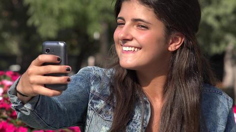 Pretty Spanish Woman Selfie Live Action