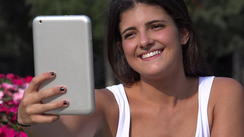 Woman Taking Selfie Using Tablet Live Action