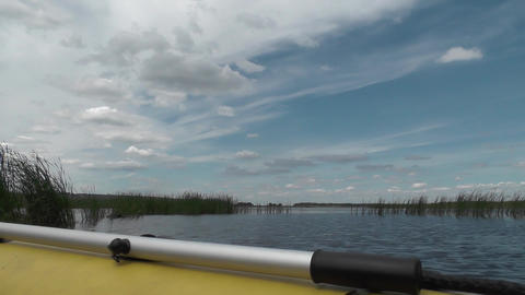 Big river to the horizon. Aboard of inflatable boat with... Stock Video Footage