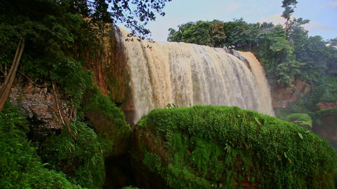 View of Waterfall Elephant with Moss-grown Rock in Vietnam Footage