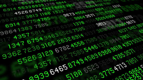 Big data stream numbers green and white Stock Video Footage