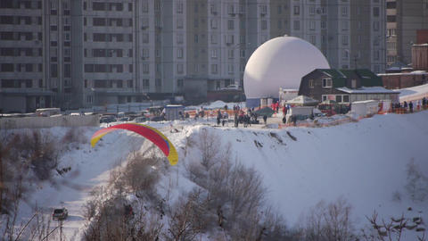 Motor Paraglider in Sky, Winter Flight Live Action