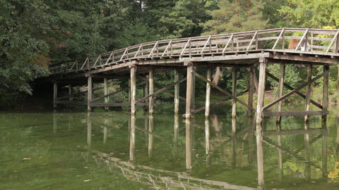 Wooden bridge in forest Footage