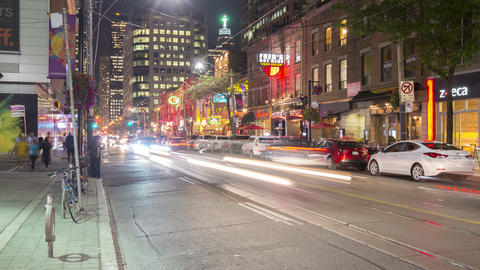 Toronto, Canada - Timelapse - King West at Night Footage