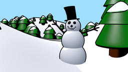 Snowman Christmas holidays happy waving cartoon winter snow man loop 4k Footage