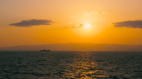 Sunset on the Shipboard,Off the Coast of Fukushima,Japan Footage
