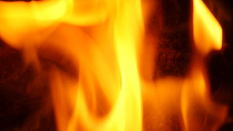 Close up of fire burning in stove slowmotion 96 frames per second 47 Live Action