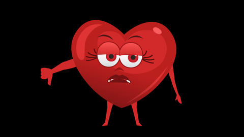 Cartoon Heart with Animated Face. 2nd Pose Bad. Alpha... Stock Video Footage