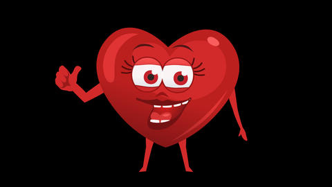 Cartoon Heart with Animated Face. 5th Pose Good. Alpha Channel Animation
